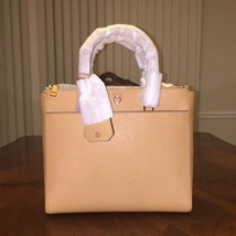 NWT Tory Burch Robison Large Zip-Top Tote Bag in Cardamom/Royal Navy  - $336.24