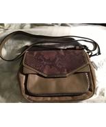 Coach Taylor 2- Way Suede Exotic Python Crossbody Handbag Bronze  - $79.19