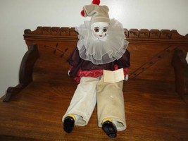 Vtg Porcelain Pierrot Clown Doll 2ft  OOAK Hand Paint Artist Christine R... - $67.54