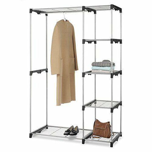 Closet Storage Organizer: 5 Shelves 2 Garment Rods Portable Free Standing