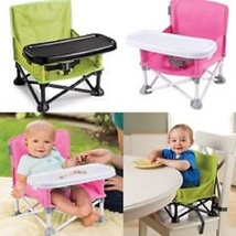 Summer Infant Pop N Sit Portable Booster Seat Pink/Green Dine Play Trave... - $48.50