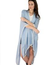 Le Nom Crochet Trim Scarf Ruana (BLUE) - $12.86
