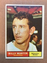 1961 Topps #89 Billy Martin Baseball Card NM Condition Milwaukee Braves RF1 - $12.99