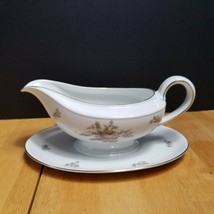 Rosenthal Continental Colonial Rose China Gravy Boat Pink Beige Roses  - $14.84
