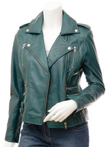 QASTAN Women's New Stunning Teal Blue Biker Sheep Leather Jacket QWJ41A - $149.00+