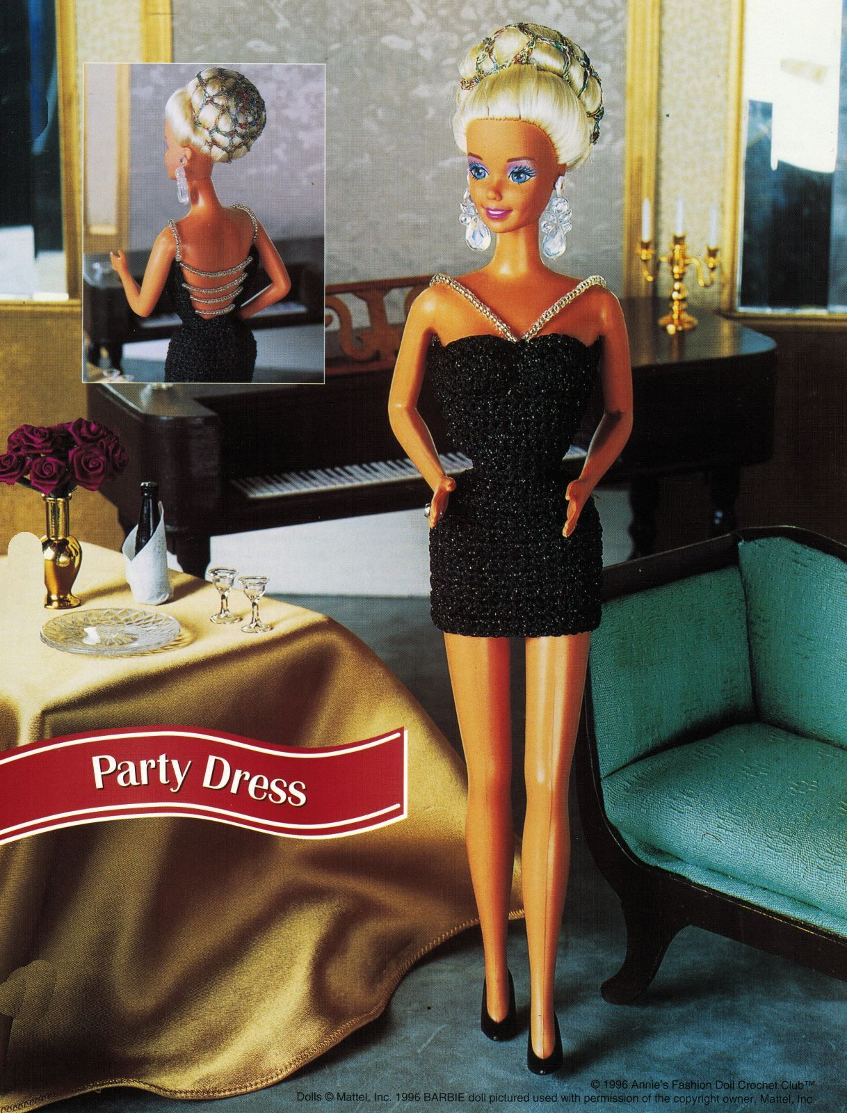 "Cocktail Evening Party Dress Gown Barbie 11-1/2"" Doll Clothes Crochet Pattern image 4"