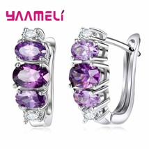 New Design 925 Silver Hoop Earrings For Women Round With Purple Cubic Zircon Cha - $9.72