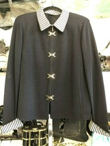 St. John Collection Black Knit Zip Front Jacket w/ Striped Silk Trim Sz 12 $1295 - $335.51