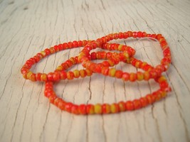 CZECH orange and yellows FACETED RONDELLE GLASS BEADS 3x2mm 150 beads - $8.95