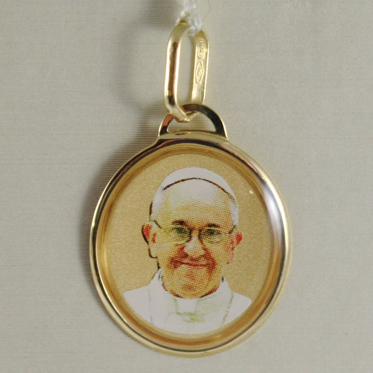 PENDANT MEDAL YELLOW GOLD 750 18K, POPE FRANCIS, ENAMELLED, MADE IN ITALY