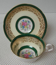 Royal Grafton China TEA CUP & SAUCER Dark Green Cream Edge & Floral Center #2 - $20.94
