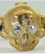 Rare Georgian 18k gold,enamel&diamonds Poison Memento Mori Skull ring.15... - $5,524.75