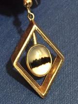 Vintage 70s Gold Diamond-shape Dangle Montana Agate Earrings image 4