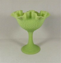 "Fenton Footed Compote Persian Medallion 6 1/2"" Lime Green Satin Custard ... - $24.70"