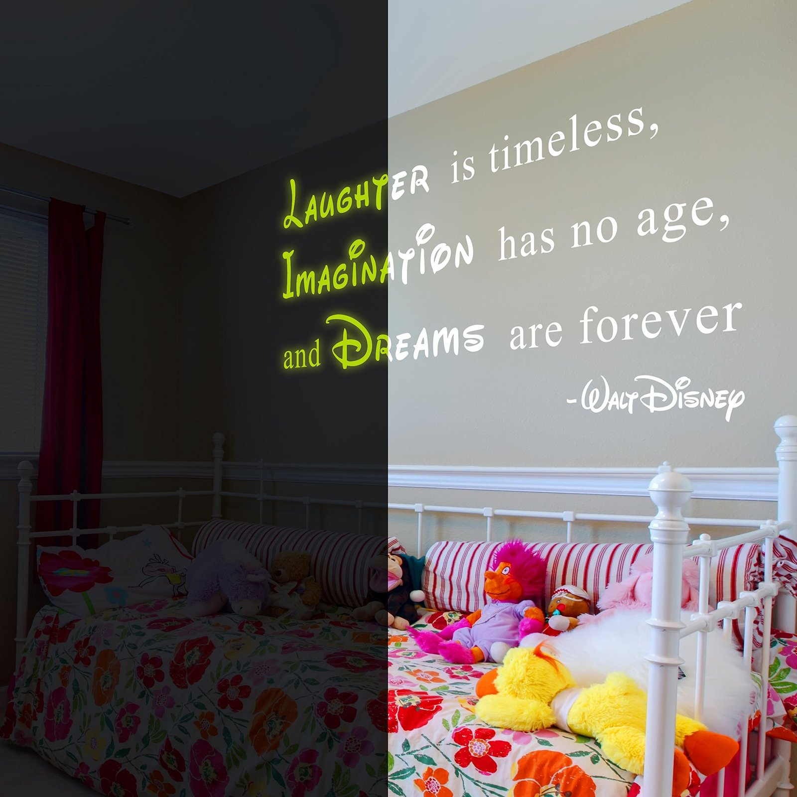"( 63"" x 34"" ) Glowing Vinyl Wall Decal Walt Disney Quote / Glow Dark Saying Laug"