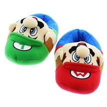 Super Mario Brothers Boys Plush Slippers Large / 2-3, Mario Luigi Blue - $27.27