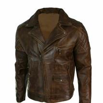 Mens Biker Vintage Distressed Tan Brown Real Leather Jacket Cross Zip Retro - $99.99