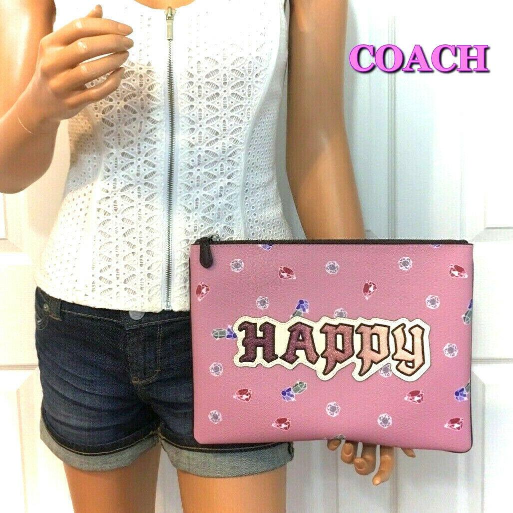 COACH Disney HAPPY Gems Bag Snow White Collection Pink Large Wristlet 30 NWT