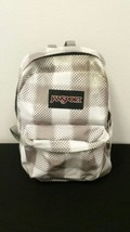 Jansport Backpack White With Gray Back 2 Zipper Pockets School Book Bag  - $17.62