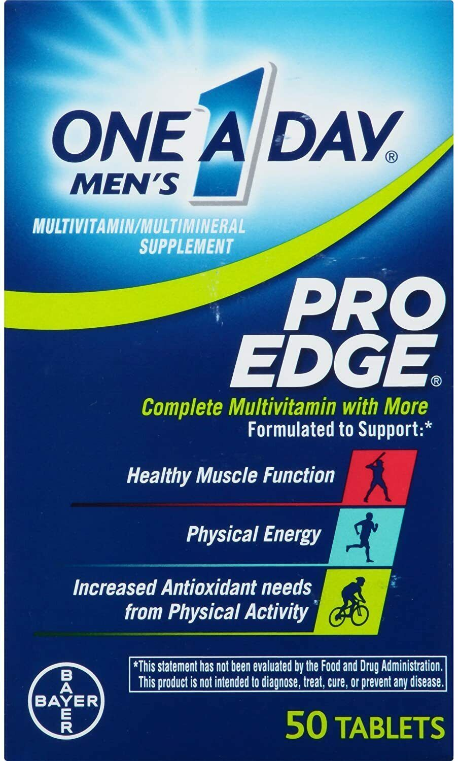 One a Day MEN'S PRO EDGE Multivitamin Tablets 50 Count EXP 05/21 to 12/21 - $6.33