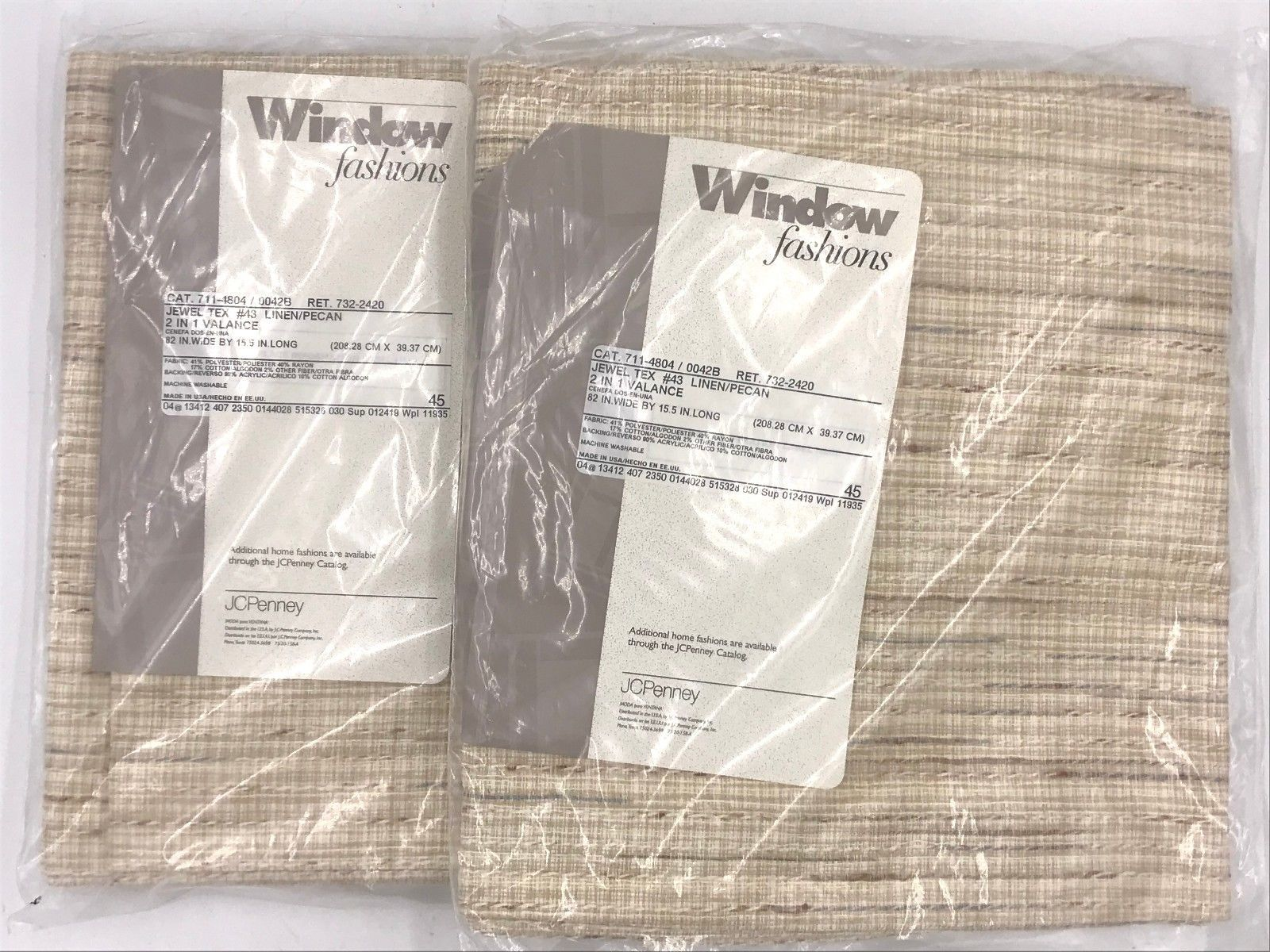 JCPenney Window Fashions Jewel Tex Linen Pecan Pole Top 2 Valances 82x15.5 K1