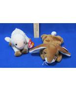 Ty Beanie Babies Stuffed Ears Bunny Rabbit Hare 1995 Ewey Lamb 1998 Lot ... - $12.22