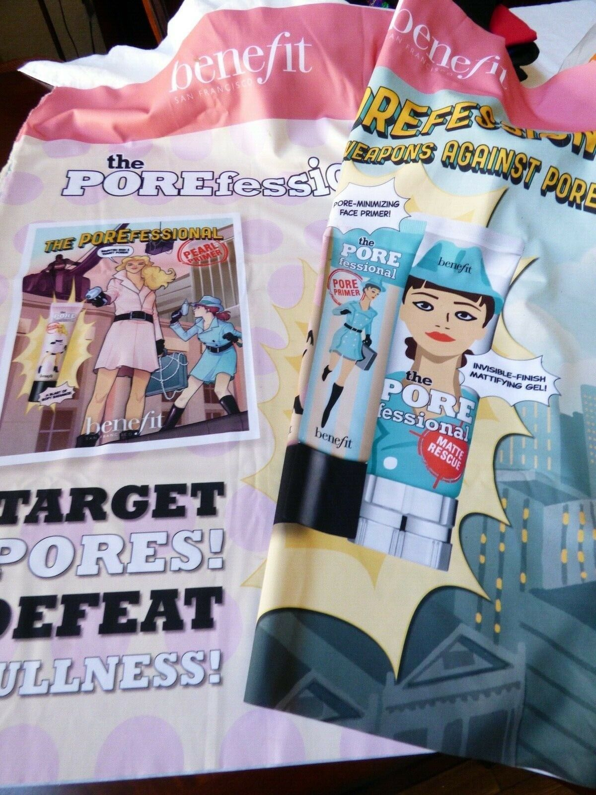 Primary image for Benefit Porefessional Cosmetics Fabric Banner 4 panel poster Display 108x35
