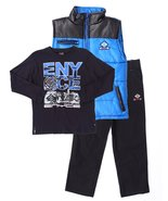 Boys 3 Pc set puffer Vest long sleeve top and Jeans - $17.99