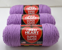 Red Heart Super Saver Medium Weight Acrylic Yarn - 3 Skeins Orchid #530 - $21.80