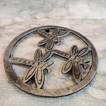 Cast Iron Trivet, Dragonfly Design, Metal Hot Mat, Pot Mat, Dragonflies Decor image 2