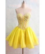 Yellow Beaded Short Prom Dresses Off Shoulder Girls Cocktail Gowns Sweet... - $123.00