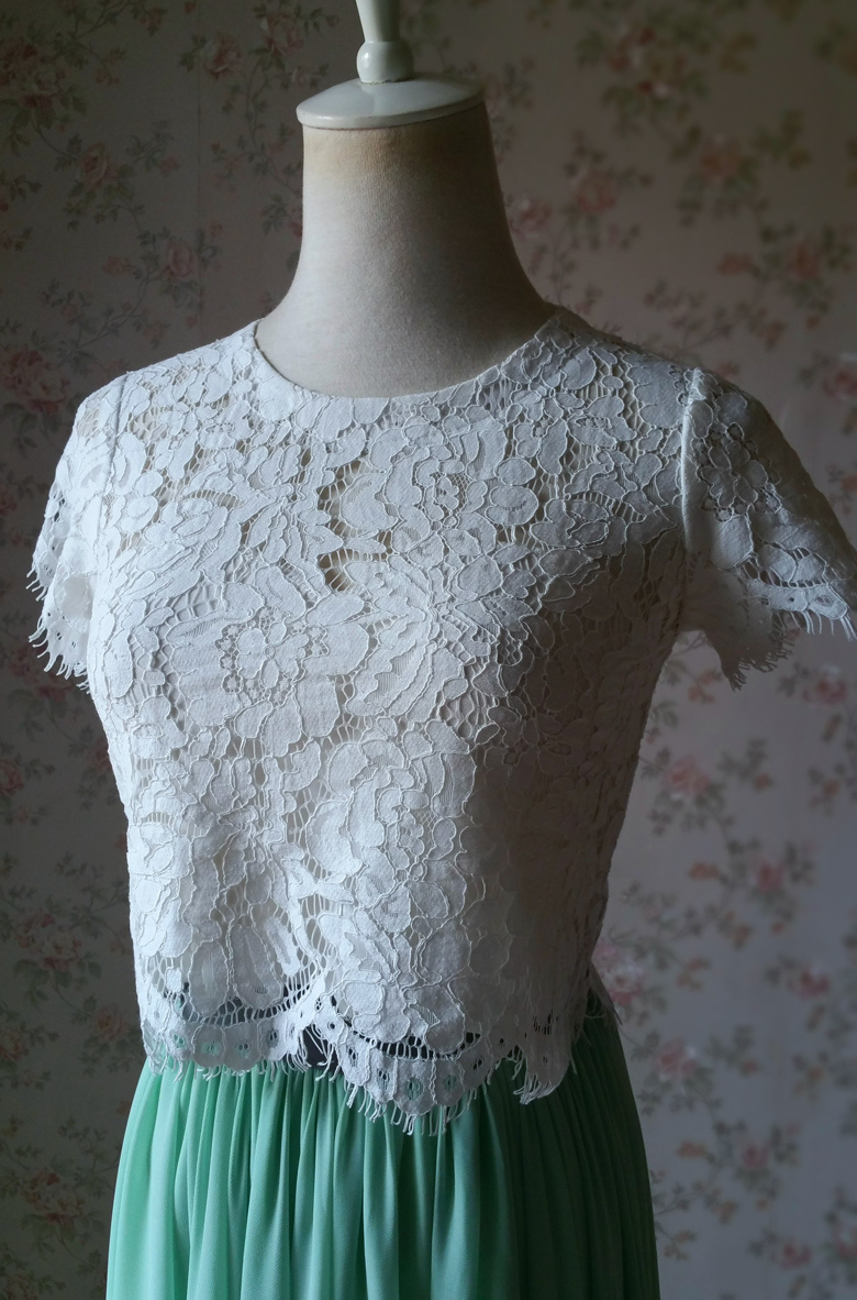 Short Sleeve White Lace Crop Top Round Neck Lace Bridesmaid Lace Top