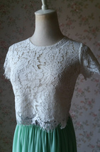White Floral Short Sleeve Crop LACE TOPS Wedding Bridesmaid Lace Shirt US0 -US32
