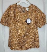 Women's Plus Size Fleck Print Short Sleeve Poplin Top - Ava & Viv Orange 1X - $15.57