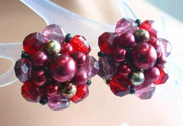 Elegant Red and Pink Faceted & Faux Pearl Clip Earrings 1960s vintage 1 ... - $12.30