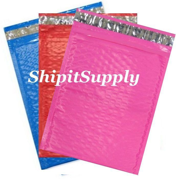 3-300 #0 6x10 ( Blue Red & Pink ) Color Poly Bubble Mailers Fast Shipping