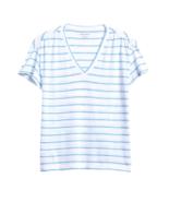 Banana Republic Slub Cotton-Modal Ruched T-Shirt White & Blue Stripe Siz... - $39.50