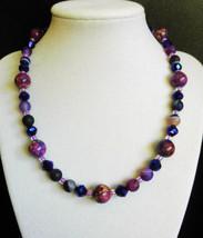 "17"" genuine purple imperial jasper, agate, swarovski crystal, and artgla... - $85.00"