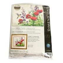 Dimensions Hummingbird & Poppies  Creative Crewel Stitchery 14 x 11 Sealed - $24.70