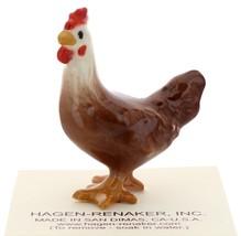 Hagen-Renaker Miniature Ceramic Chicken Figurine Leghorn Black Rooster & Red Hen image 3