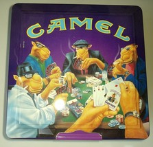 Collectible Camel Joe Poker Set Playing Cards & Poker Chips in Metal Tin New - $35.99