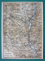 1884 MAP Baedeker - GERMANY Rhine River Between Bonn Neuwied & Koblenz - $12.60