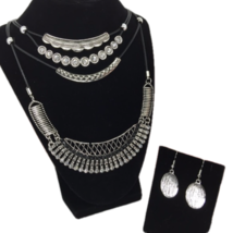 Riah Boho Jewelry Set Necklace & Earrings, Black Cord, Silver Tone - $13.48
