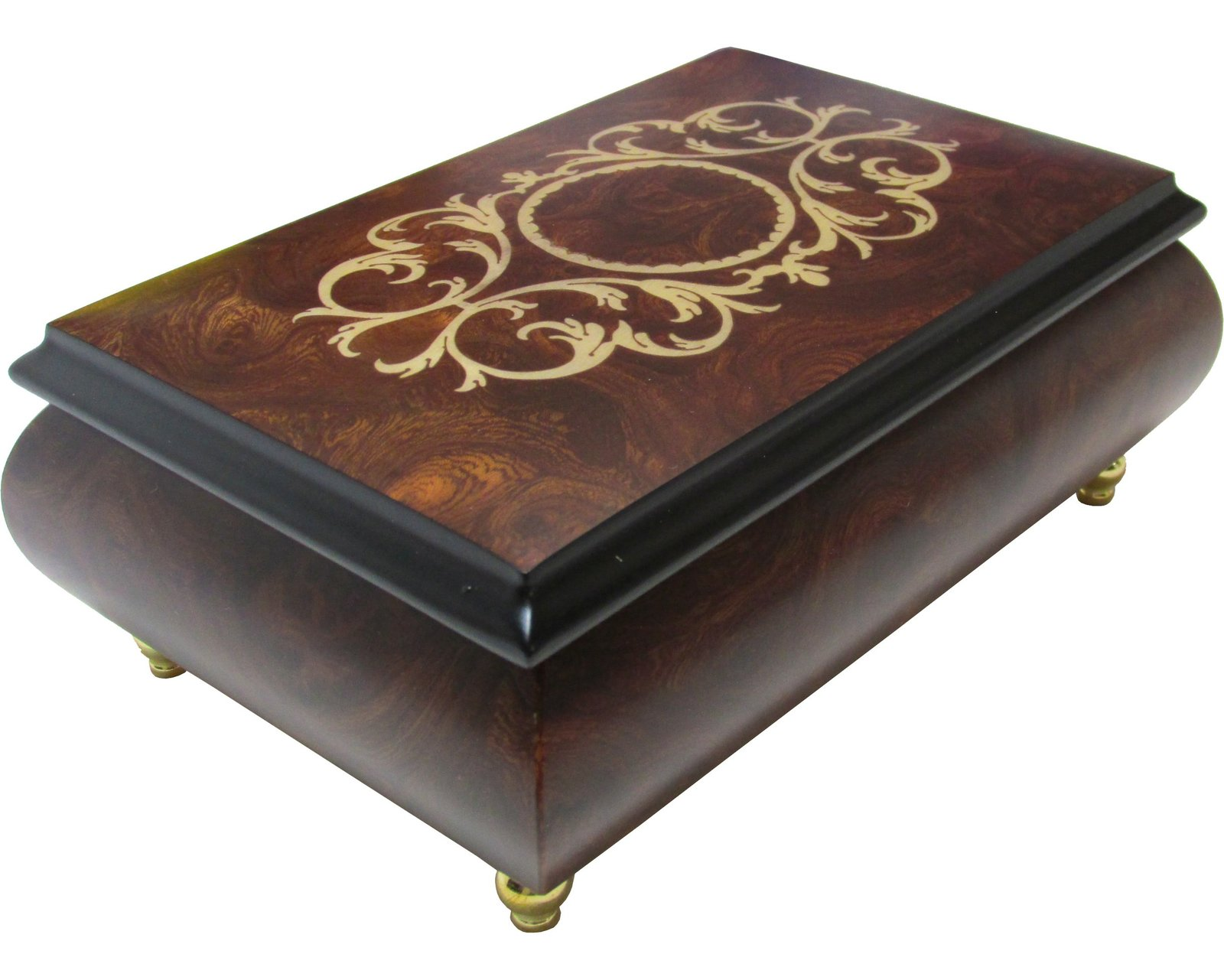 "Primary image for Italian Music Box, 6.5"", Arabesque Inlay, Matte Elm"