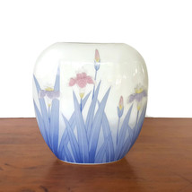 Otagiri Japan Flat Vase MOC Blue Pink Iris Porcelain Ceramic Pillow Vase... - $18.76