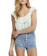 Free People Womens Cora Lee Green Ombre Ruffled Tee Tank Top Shirt XS - $19.99