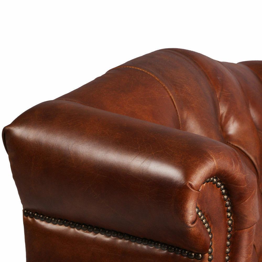 MarquessLife 100%Genunie Leather Handmade Tufted High Back Armchair Antique Sofa image 6