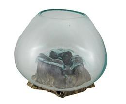 Zeckos Glass On Teak Driftwood Decorative Vase/Plant Terrarium - $83.99