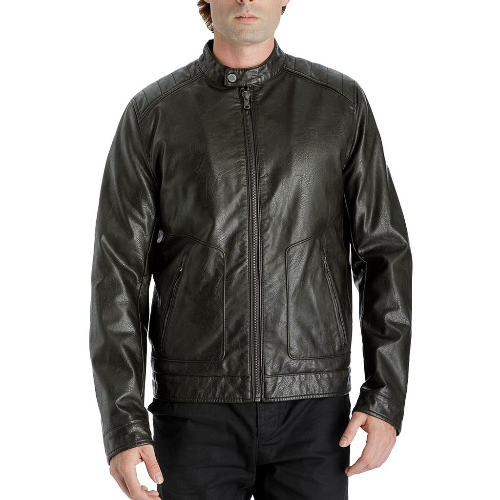 Tabbed Collar Men Leather Jacket