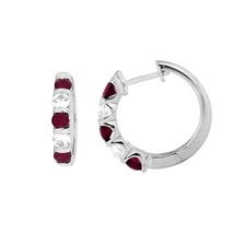 0.60 Ct Round Cut Ruby & Sim. Diamond Hoop Earrings In 14K White Gold Fi... - $120.18
